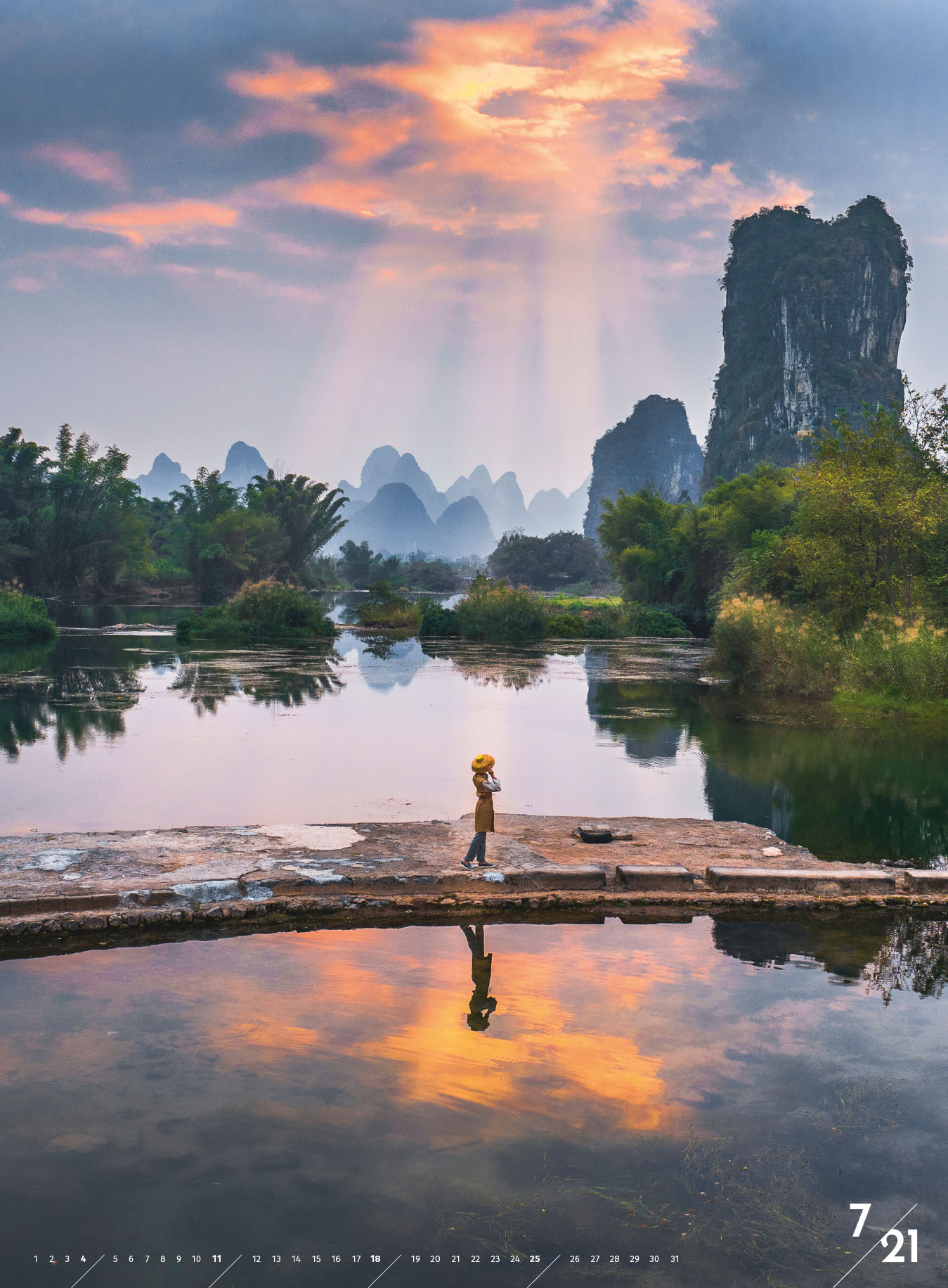 Sonnenaufgang in Yangshou, China